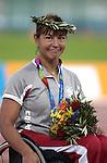 Chantal Petitclerc obtient sa troisi?me m?dailles d'or  au 1500 m?tres, elle ?tablit aussi un nouveau record du monde de cette m?me distance.  (Jean-Baptiste Benavent 24 septembre).