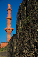 Daulatabad Fort and the Victory Pillar is 210 feet high and is a very good specimen of Persian art in India. The minar was constructed in memory of a victory over Gujrat,Sujrat, by Sultan Al-ud-din Bahamani (Ahamadshah II ) in 1435 A.D. Aurangabad, India