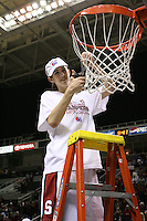 5 March 2007: Brooke Smith cuts down the net during Stanford's 62-55 win over ASU in the finals of the women's Pac-10 tournament championship at HP Pavilion in San Jose, CA.