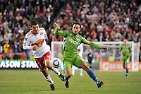 Rafa Marquez (4) of the New York Red Bulls and Mauro Rosales (10) of the Seattle Sounders. The New York Red Bulls defeated the Seattle Sounders 1-0 during a Major League Soccer (MLS) match at Red Bull Arena in Harrison, NJ, on March 19, 2011.