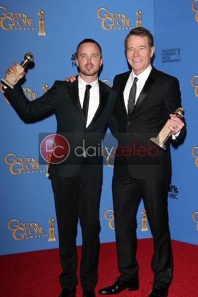 Bryan Cranston. Aaron Paul<br /> at the 71st Annual Golden Globe Awards Press Room, Beverly Hilton Hotel, Beverly Hills, CA 01-12-14<br /> David Edwards/DailyCeleb.com 818-249-4998
