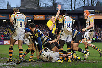 Amanaki Mafi of Bath Rugby is awarded a try in the final play of the match. Aviva Premiership match, between Bath Rugby and Wasps on February 20, 2016 at the Recreation Ground in Bath, England. Photo by: Patrick Khachfe / Onside Images