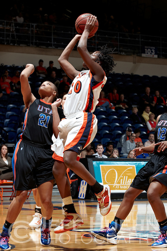SAN ANTONIO, TX - MARCH 3, 2012: The University of Texas at Arlington Mavericks vs. The University of Texas at San Antonio Roadrunners Women's Basketball at the UTSA Convocation Center. (Photo by Jeff Huehn)