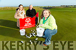 volunteer Deirdre Lyons from Tralee, Launches a Golf Ball drop  fundraiser for the winter  special olympics at Tralee Golf Club Barrow on Saturday 14th January 2017. Pictured with Parents Kay Lyons and Denis Lyons, former captain Tralee Golf Club