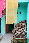 Drying Cow Pats-Bazaar in Taj Ganj, Agra