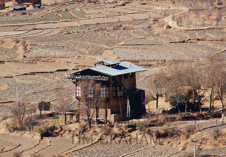Farm and rice terraces in Bhutan