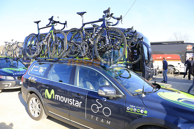 Movistar Team Canyon bikes atop the team car before the start of Gent-Wevelgem in Flanders Fields 2017, running 249km from Denieze to Wevelgem, Flanders, Belgium. 26th March 2017.<br /> Picture: Eoin Clarke | Cyclefile<br /> <br /> <br /> All photos usage must carry mandatory copyright credit (&copy; Cyclefile | Eoin Clarke)