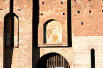 Detail of one of the gates at the Sforza Castle in Milan, Italy.