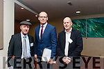 Michael Healy Rae, Minister Simon Coveney and Seamus 'Cosai' Fitzgerald at the Roadshow on Housing Crisis in the Manor West Hotel, Tralee on Monday afternoon.