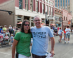Main Street Mile race director, Ryan Canning, and 94.9 The River radio personality, Tim Johnstone, are good sports about getting their picture taken during the Main Street Mile in downtown Boise, Idaho on June 22, 2012. Tim Has been the MC for the event since its inception in 2004.