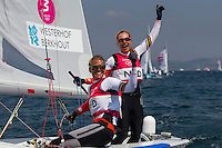 ENGLAND, Weymouth. 10th August 2012. Olympic Games. Women's 470 class. Medal Race. Lisa Westerhof (NED) Skipper, Lobke Berkhout (NED) Crew, winners of the Bronze Medal.