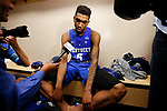 Kentucky Wildcats guard Malik Monk talks to the media after the 75-73 loss to the North Carolina Tar Heels during the 2017 NCAA Men's Basketball Tournament South Regional Elite 8 at FedExForum in Memphis, TN on Friday March 24, 2017. Photo by Michael Reaves | Staff