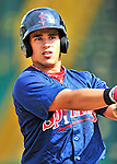 24 July 2010: Lowell Spinners catcher Jayson Hernandez awaits his turn in the batting cage prior to a game against the Vermont Lake Monsters at Centennial Field in Burlington, Vermont. The Spinners defeated the Lake Monsters 11-5 in NY Penn League action. Mandatory Credit: Ed Wolfstein Photo