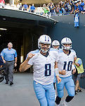 Tennessee Titans Matt Hasselbeck, left, and Jake Locker depart the tunnel before their  pre-season game against the Seattle Seahawks a at CenturyLink Field in Seattle, Washington on August 11, 2012. ©2012. Jim Bryant Photo. All Rights Reserved..