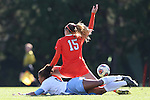 20 November 2016: Clemson's Sam Staab (15) shields North Carolina's Maya Worth (below) from the ball. The University of North Carolina Tar Heels played the Clemson University Tigers at Fetzer Field in Chapel Hill, North Carolina in a 2016 NCAA Division I Women's Soccer Tournament Third Round match. UNC won the game 1-0.