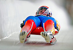 7 February 2009: Valentin Cretu slides for Romania in the Men's Competition at the 41st FIL Luge World Championships, in Lake Placid, New York, USA. .  .Mandatory Photo Credit: Ed Wolfstein Photo