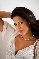 Portrait of beautiful Hispanic woman, looking forward