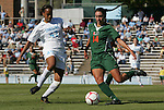 02 November 2008: North Carolina's Jessica McDonald (47) and Miami's Brittney Macdonald (14). The University of North Carolina Tar Heels defeated the University of Miami Hurricanes 1-0 at Fetzer Field in Chapel Hill, North Carolina in an NCAA Division I Women's college soccer game.