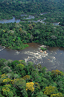 Aerial view of Jari River, northern tributary of the Amazon, coming down from Guyana Highlands, forming Para/Amapa limit, with rapids and lush rainforest.