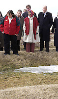 """King Harald and Queen Sonja of Norway State visit to Canada..King Harald and Queen Sonja of Norway, visit the """" L'anse-aux-Meadows """"  viking Settlement site, in Newfoundland."""