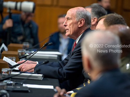 Daniel R. Coats, Director of National Intelligence (DNI), testifies during the United States Senate Select Committee on Intelligence hearing titled &quot;Worldwide Threats&quot; on Capitol Hill in Washington, DC on Thursday, May 11, 2017.  <br /> Credit: Ron Sachs / CNP<br /> (RESTRICTION: NO New York or New Jersey Newspapers or newspapers within a 75 mile radius of New York City)