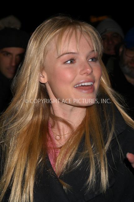 Actress Kate Bosworth arrives at the David Letterman Show. New York City. January 12 2004. Please byline: AJ SOKALNER/NY Photo Press.   ..*PAY-PER-USE*      ....NY Photo Press:  ..phone (646) 267-6913;   ..e-mail: info@nyphotopress.com