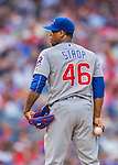 15 June 2016: Chicago Cubs pitcher Pedro Strop on the mound during a game against the Washington Nationals at Nationals Park in Washington, DC. The Cubs fell to the Nationals 5-4 in 12 innings, giving up the rubber match of their 3-game series. Mandatory Credit: Ed Wolfstein Photo *** RAW (NEF) Image File Available ***