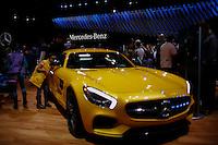 Mercedes-Benz AMG GT V8 Biturbo 2015 is seen while people visit the International Auto Show 2015 in New York. 04.06.2015. Eduardo MunozAlvarez/VIEWpress.