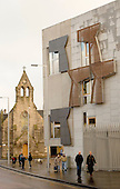 New Scottish Parliament building at Holyrood, Edinburgh.  Designed by Spanish architect, Enric Miralles.  Next to the Queen's Gallery.