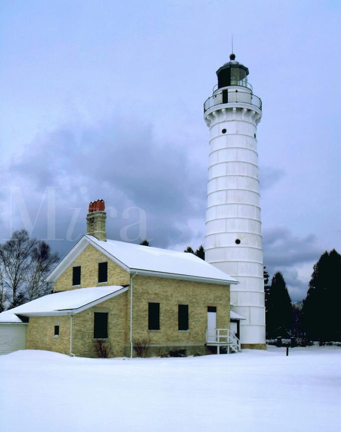 Cara Island lighthouse in winter, Door County, WI. Door County, Wisconsin.