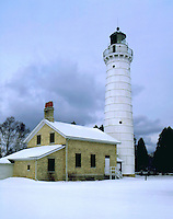 Cara Island lighthouse in winter, Door County, WI. Door County, Wisconsin.