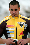 19 November 2005: Cedric Grand, breakman of the Switzerland 1 sled, stands disappointed after a second run crash at the 2005 FIBT AIT World Cup Men's 2-Man Bobsleigh Tour at the Verizon Sports Complex, in Lake Placid, NY. Mandatory Photo Credit: Ed Wolfstein.