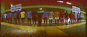 Members of the Indian Kabbadi team line up before the training session at a month long camp in Sport Authority of India Sports Complex in Bisankhedi, outskirts of Bhopal, Madhya Pradesh, India.