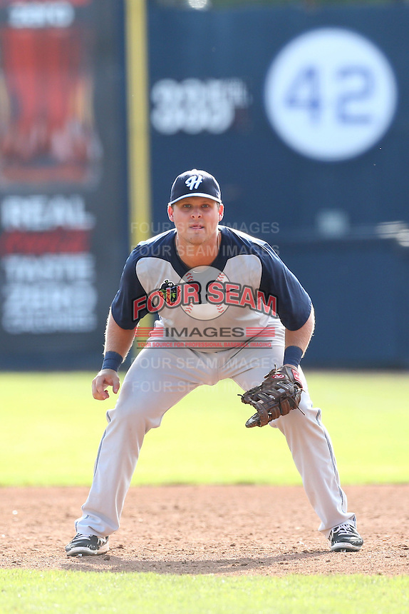 Jake Mayers #12 of the Hillsboro Hops during a game against the Vancouver Canadians at Nat Bailey Stadium on July 24, 2014 in Vancouver, British Columbia. Hillsboro defeated Vancouver, 7-3. (Larry Goren/Four Seam Images)