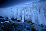 "These ice formations are called ""the penitents"" because they resemble a parade of white-robed monks"