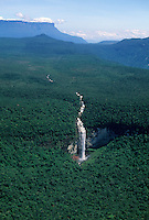Waterfall coming down from Guyana (Guiana) Highlands toward Orinoco water basin, with tepui (table mountain) in background,  Guiana Shield,  Venezuela