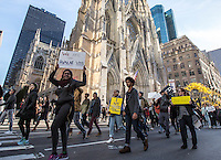 NEW YORK, NY - NOVEMBER 12: Demonstrators chant slogans as they march up Fifth Avenue in New York during a protest against the election of President-elect Donald Trump, November 12, 2016 in New York City. Photo by VIEWpress/Maite H. Mateo.