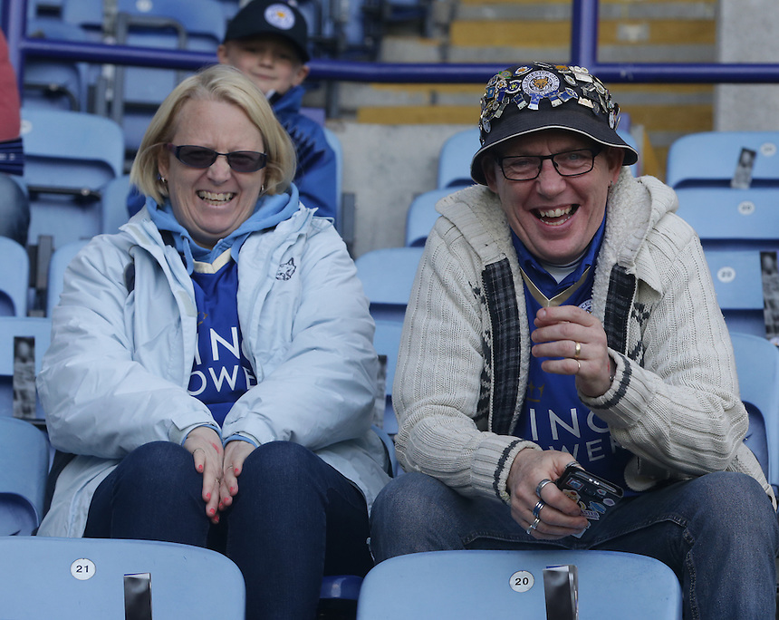 Leicester City fans look forward to the match<br /> <br /> Photographer Stephen White/CameraSport<br /> <br /> Football - Barclays Premiership - Leicester City v Southampton - Sunday 3rd April 2016 - King Power Stadium - Leicester<br /> <br /> &copy; CameraSport - 43 Linden Ave. Countesthorpe. Leicester. England. LE8 5PG - Tel: +44 (0) 116 277 4147 - admin@camerasport.com - www.camerasport.com