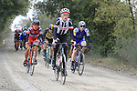The peloton on gravel sector 3 Radi during the 2017 Strade Bianche running 175km from Siena to Siena, Tuscany, Italy 4th March 2017.<br /> Picture: Eoin Clarke | Newsfile<br /> <br /> <br /> All photos usage must carry mandatory copyright credit (&copy; Newsfile | Eoin Clarke)