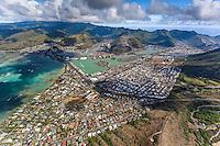 An aerial view of Hawai'i Kai that includes Haha'ione Valley, Maunalua Bay, Koko Marina, Kuapa Pond and the Portlock neighborhood, Honolulu, O'ahu.