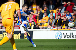Motherwell v St Johnstone....28.04.12   SPL.Jack Compton has a rare saints shot at goal.Picture by Graeme Hart..Copyright Perthshire Picture Agency.Tel: 01738 623350  Mobile: 07990 594431