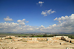 A view of Jezreel valley and Nazareth mountains from the northern palace at Tel Megiddo, a World Heritage Site