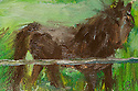 Oil 4x6 painting on a blank post card.   Horse, Catskills, Olivebridge NY USA