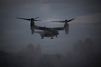 a Bell-Boeing V-22 Osprey carrying press and staff arrives in Manhattan ahead of Marine One in New York, New York on Sunday, September 18, 2016.  United States President Barack Obama will address the 71st UN General Assembly Tuesday in his last major appearance at the annual gathering of world leaders.<br /> Credit: John Taggart / Pool via CNP / MediaPunch