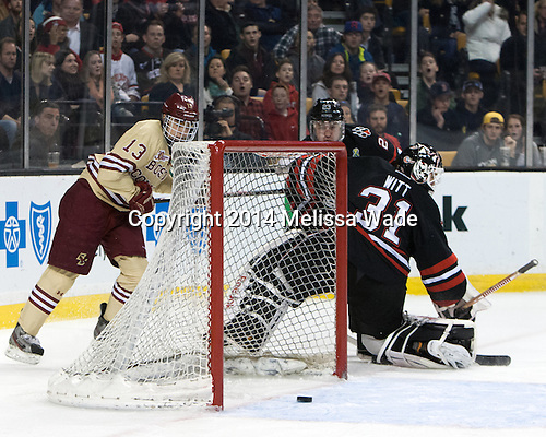 Johnny Gaudreau (BC - 13), Colton Saucerman (NU - 23), Clay Witt (NU - 31) - The Boston College Eagles defeated the Northeastern University Huskies 4-1 (EN) on Monday, February 10, 2014, in the 2014 Beanpot Championship game at TD Garden in Boston, Massachusetts.