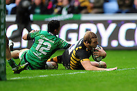 Joe Launchbury of Wasps dives for the try-line. European Rugby Champions Cup match, between Wasps and Connacht Rugby on December 11, 2016 at the Ricoh Arena in Coventry, England. Photo by: Patrick Khachfe / JMP