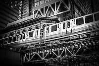 "Chicago elevated ""L"" train in black and white."
