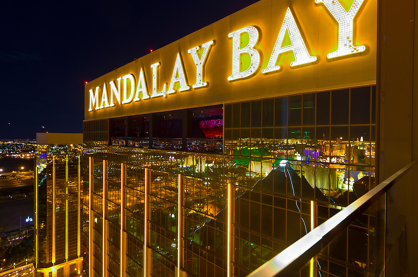 Night view, Mandalay Bay Resort and Casino, Las Vegas, Nevada USA
