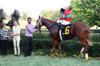 HOT SPRINGS, AR - MARCH 18: Jockey Javier Castellano celebrates aboard Malagacy #6 in winners circle after winning the Rebel Stakes race at Oaklawn Park on March 18, 2017 in Hot Springs, Arkansas. (Photo by Justin Manning/Eclipse Sportswire/Getty Images)