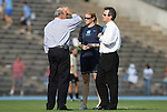 27 September 2009: UNC head coach Anson Dorrance (right) with assistant coaches Cindy Parlow and Bill Palladino. The University of North Carolina Tar Heels defeated the Wake Forest University Demon Deacons 4-0 at Fetzer Field in Chapel Hill, North Carolina in an NCAA Division I Women's college soccer game.